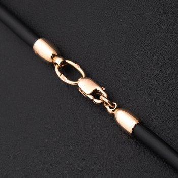 Каучуковый шнурок с золотой гладкой застежкой (3 мм)