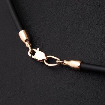 Каучуковый шнурок с золотой гладкой застежкой и вставками из золота (3мм)