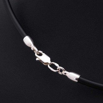 Каучуковый шнурок с гладкой серебряной застежкой (3мм)