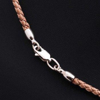 Шелковый бежевый шнурок с гладкой серебряной застежкой (3мм)