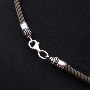 Шелковый шнурок цвета Хаки с серебряной застежкой (3мм)