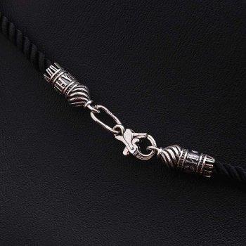 """Шелковый шнурок """"Спаси и сохрани"""" с серебряной застежкой (3мм)"""