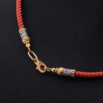 """Шелковый красный шнурок """"Спаси и сохрани"""" с серебряной позолоченной застежкой (3мм)"""
