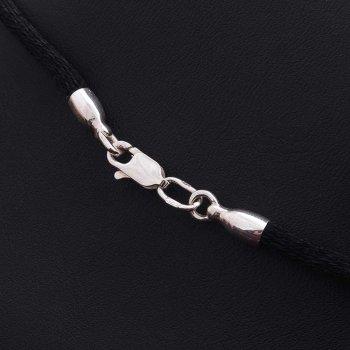 Шелковый шнурок с гладкой серебряной застежкой (3мм)