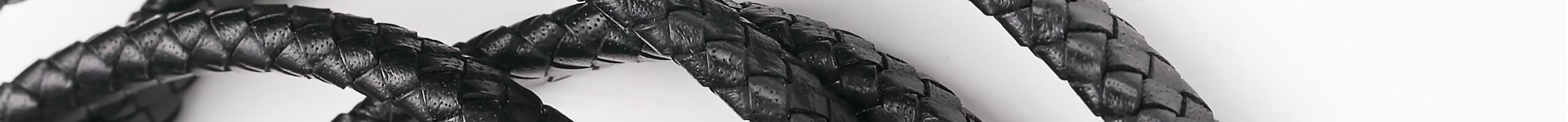 Плетеные шнуры прямоугольной формы из натуральной кожи