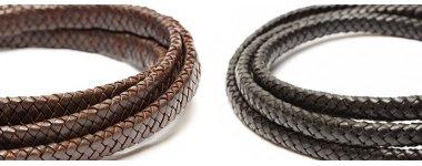 Кожаные плетеные прямоугольные шнуры