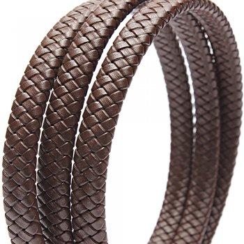 10 х 5 мм, Прямоугольный плетеный кожаный шнур | Коричневый | Индия