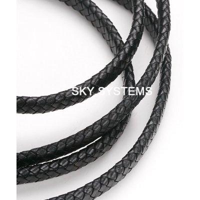 Плоский кожаный плетеный шнур Индия 10х5 мм Черный 01
