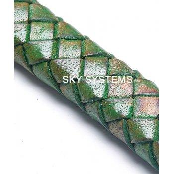 11 x 7 мм, Зеленый | Плетеный плоский кожаный шнур | (SKY Австрия)