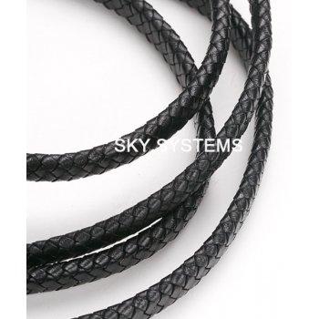 12 х 5 мм, Прямоугольный плетеный кожаный шнур | Черный | Индия