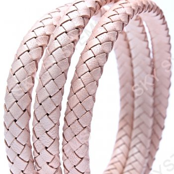 11 x 7 мм, Бежевый | Плетеный плоский кожаный шнур | (SKY Австрия)