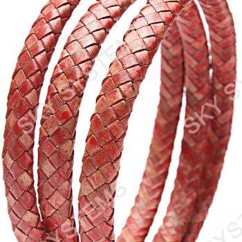 11 x 7 мм, Красно-коричневый | Плетеный плоский кожаный шнур | (SKY Австрия)