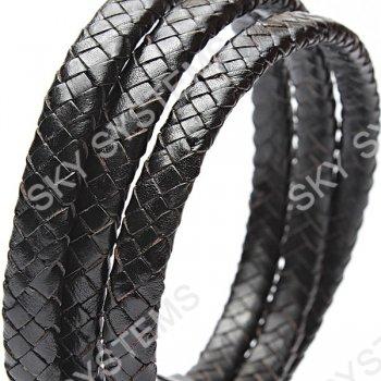 10 x 5 мм, Черный | Плетеный плоский кожаный шнур | (SKY Австрия)