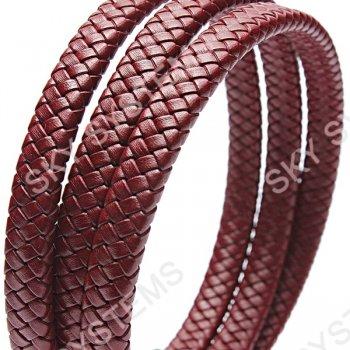 11 x 7 мм, Бордовый   Плетеный плоский кожаный шнур   (SKY Австрия)