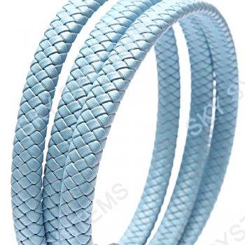 11 x 7 мм, Голубой | Плетеный плоский кожаный шнур | (SKY Австрия)