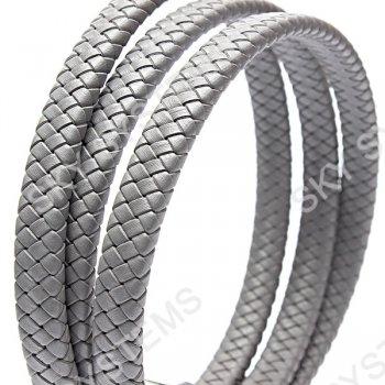 11 x 7 мм, Серый   Плетеный плоский кожаный шнур   (SKY Австрия)