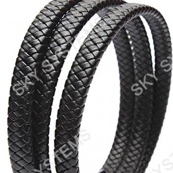 11 x 7 мм, Черный | Плетеный плоский кожаный шнур | (SKY Австрия)