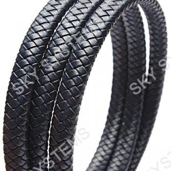 11 x 7 мм, Темно-синий | Плетеный плоский кожаный шнур | (SKY Австрия)