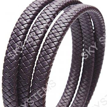 11 x 7 мм, Фиолетовый | Плетеный плоский кожаный шнур | (SKY Австрия)