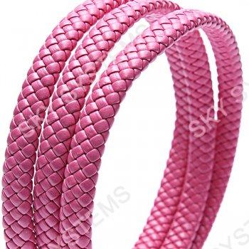 11 x 7 мм, Темно-розовый | Плетеный плоский кожаный шнур | (SKY Австрия)