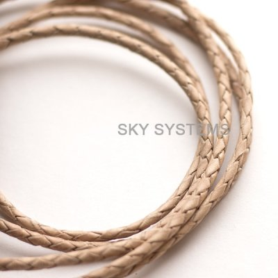 Кожаный плетеный шнур | 3,0 мм, Натуральный (Некрашеный)