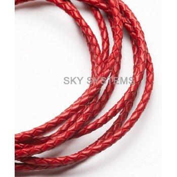 Кожаный плетеный шнур | 3,0 мм, Красный | Индия