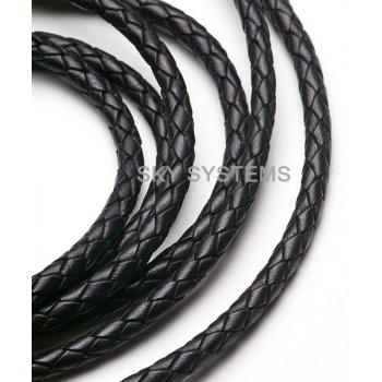 Кожаный плетеный шнур | 5,0 мм, Черный | Индия