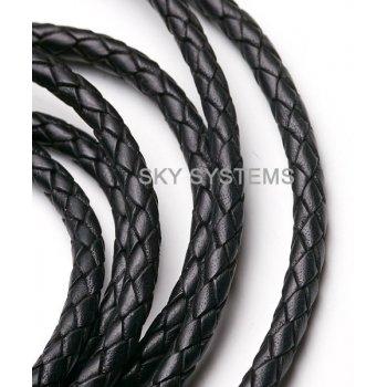 Кожаный плетеный шнур | 6.0 мм, Черный | Индия