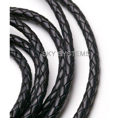 Кожаный плетеный шнур Индия 6.0 мм Черный 01