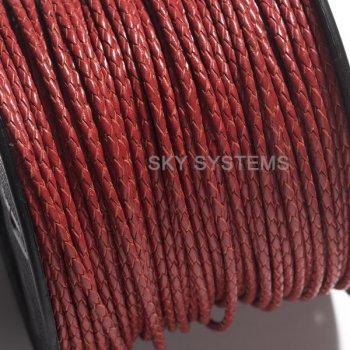 Кожаный плетеный шнур | 3,0 мм, Темно-красный | Индия