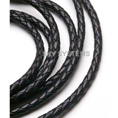 Кожаный плетеный шнур Индия 5.0 мм Черный 01