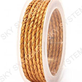 Кожаный плетеный шнур | 3,0 мм, Золотой 06 | Скай