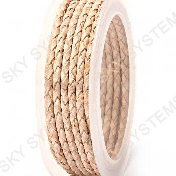 Кожаный плетеный шнур | 3,0 мм, Бежевый 10 |  Скай