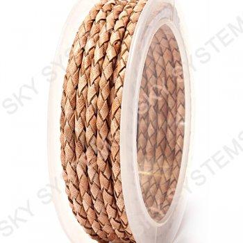 Кожаный плетеный шнур   3,0 мм, Бежевый 11    Скай