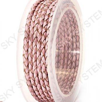 Кожаный плетеный шнур | 3,0 мм, Розовый 12 | Скай