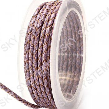 Кожаный плетеный шнур | 3,0 мм, Фиолетовый 13 | Скай