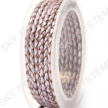 Кожаный плетеный шнур | 3,0 мм, Фиолетовый 14 | Скай