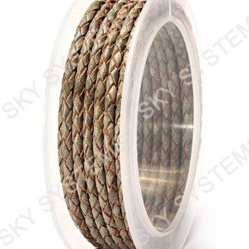 Кожаный плетеный шнур | 3,0 мм, Зеленый 15 | Скай