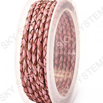 Кожаный плетеный шнур | 3,0 мм, Розовый 19 | Скай