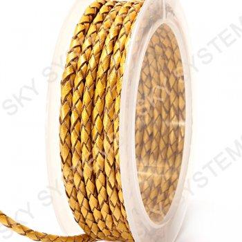 Кожаный плетеный шнур   3,0 мм, Желтый 02    Скай