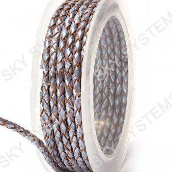 Кожаный плетеный шнур | 3,0 мм, Серый 20 | Скай