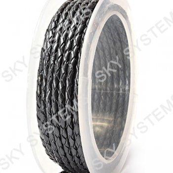 Кожаный плетеный шнур | 3,0 мм, Серый 22 | Скай
