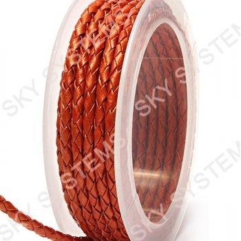 Кожаный плетеный шнур | 3,0 мм, Красный 23 | Скай