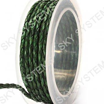 Кожаный плетеный шнур | 3,0 мм, Зеленый 25 | Скай