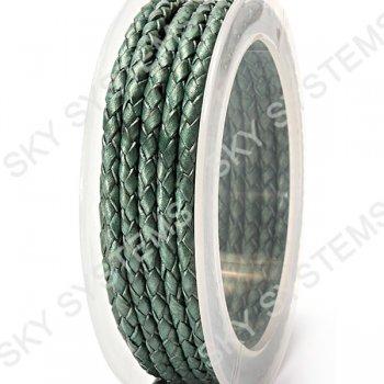 Кожаный плетеный шнур | 3,0 мм, Зеленый 27 | Скай