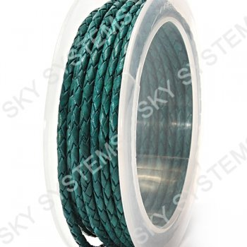 Кожаный плетеный шнур | 3,0 мм, Зеленый 28 | Скай
