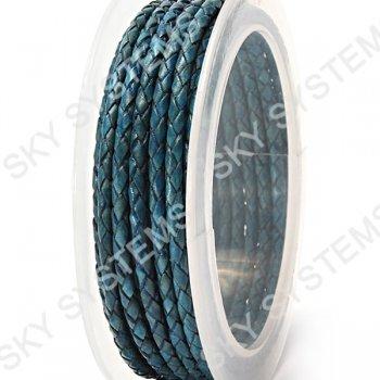 Кожаный плетеный шнур | 3,0 мм, Синий 29 |  Скай