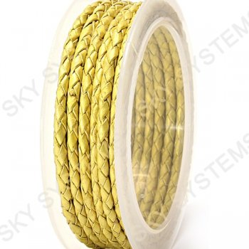 Кожаный плетеный шнур | 3,0 мм, Желтый 03 |  Скай