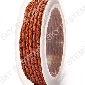 Кожаный плетеный шнур | 3,0 мм, Коричневый 31 |  Скай