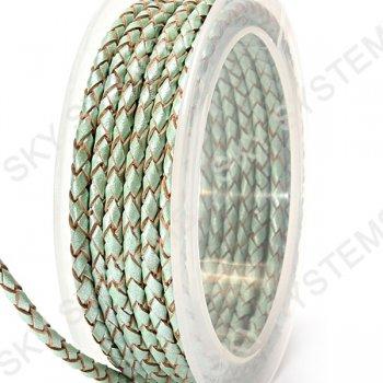 Кожаный плетеный шнур | 3,0 мм, Зеленый 32 | Скай